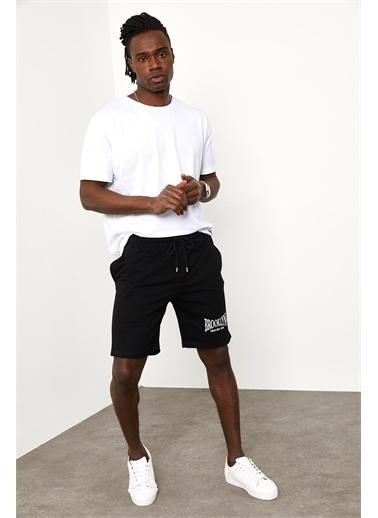 XHAN Siyah Brooklyn Cepli Şort  Siyah
